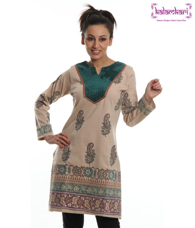 Kalamkari Woolen Kurti-516-Creem