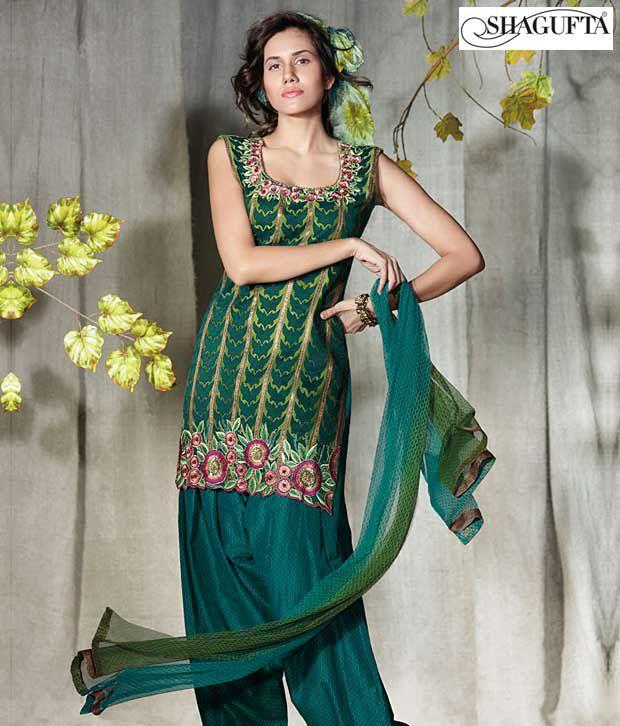 Shagufta Chanderi Banarasi Silk Suit- B-512