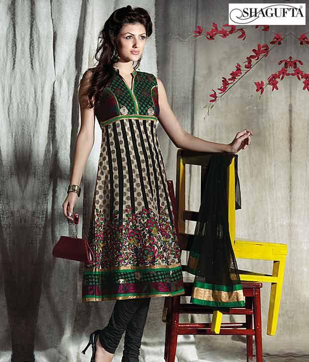 Shagufta Chanderi Banarasi Silk Suit- B-522
