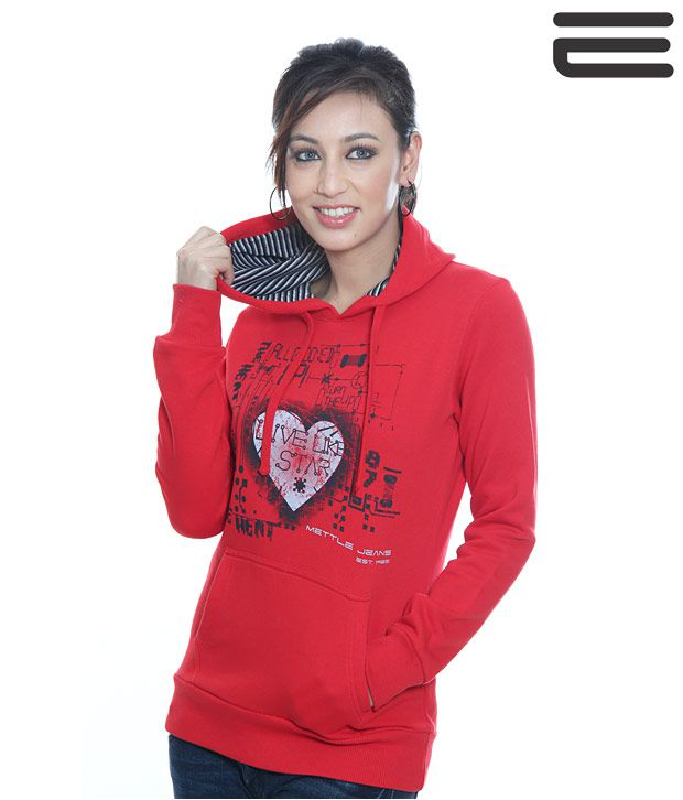 Mettle Red Sweat Shirt-M-8009-Red