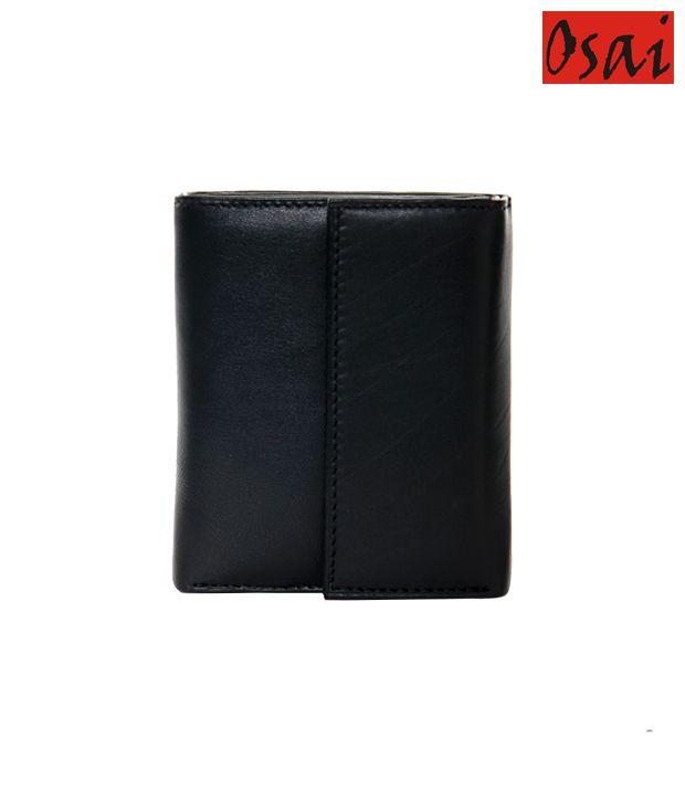 Osai Black Flap Wallet