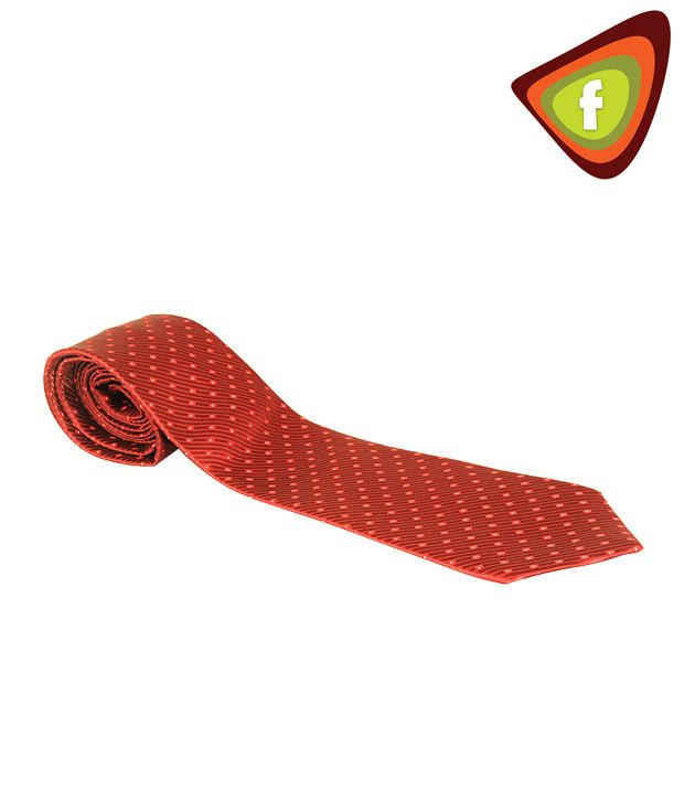 F-Ties Red Colour Tie With Red & White Dots
