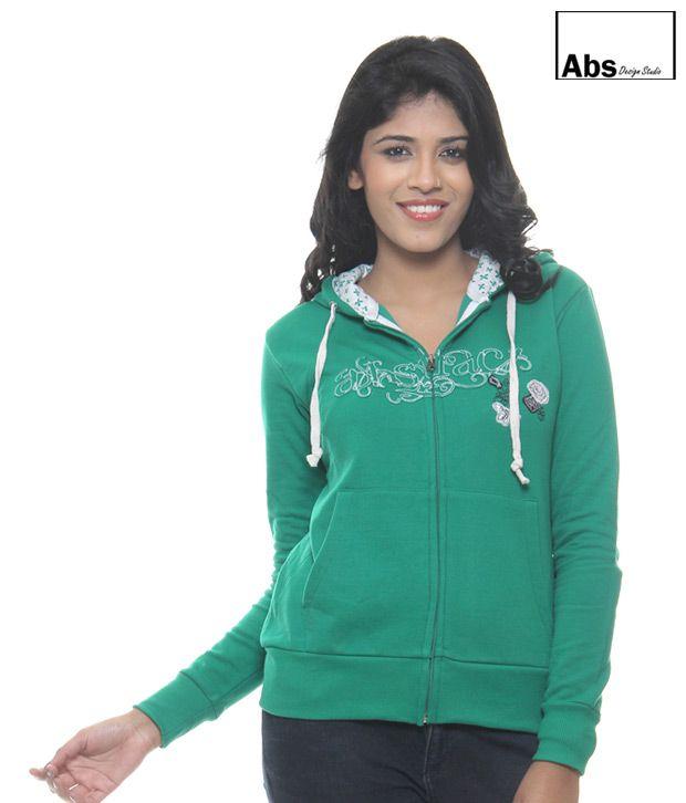 Abs Green Hoodie Sweat Shirt-Abwg11120Grn