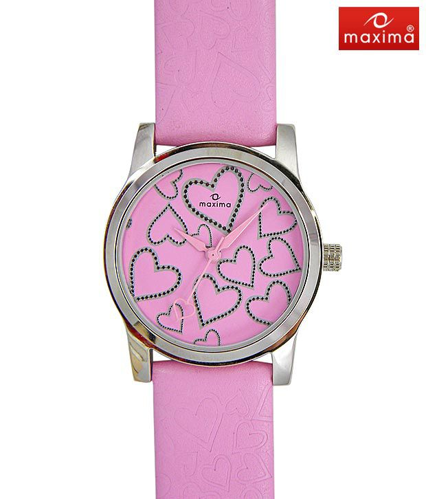 Maxima Heart Embossed Pink Watch