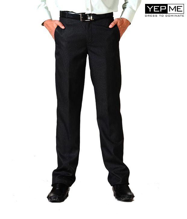 Yepme Formal Black white striped Trousers YPMTROU0009