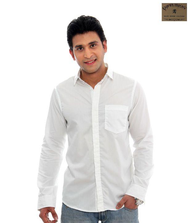 Diffusion White Shirt-SCD-5001AW-001-White-Plain