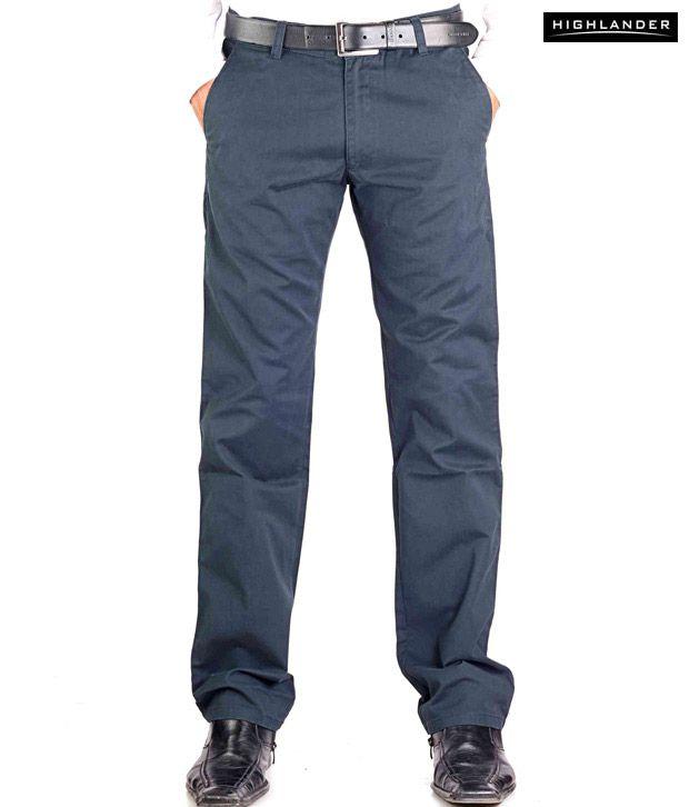 Highlander Navy Blue Casual Trouser HLTR002873