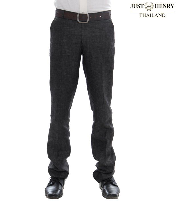 Just Henry Dark Grey Linen Trousers-JH-L02
