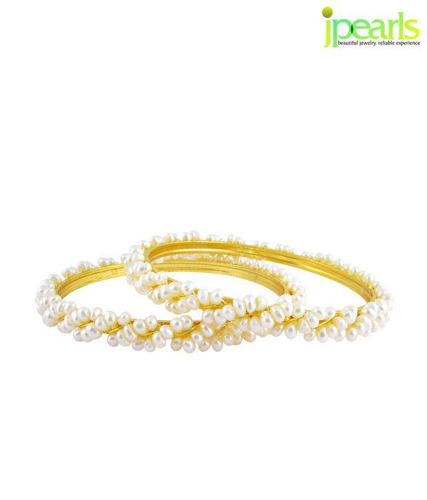Sri Jagdamba Pearls Twisted Pearl Bangles Pair