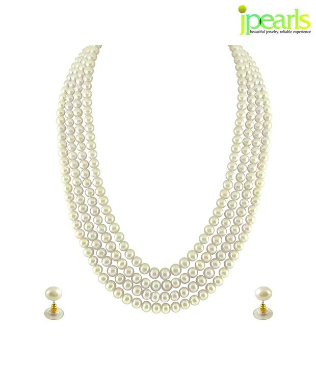 Sri Jagdamba Pearls Incredible 4 String White Pearl Set