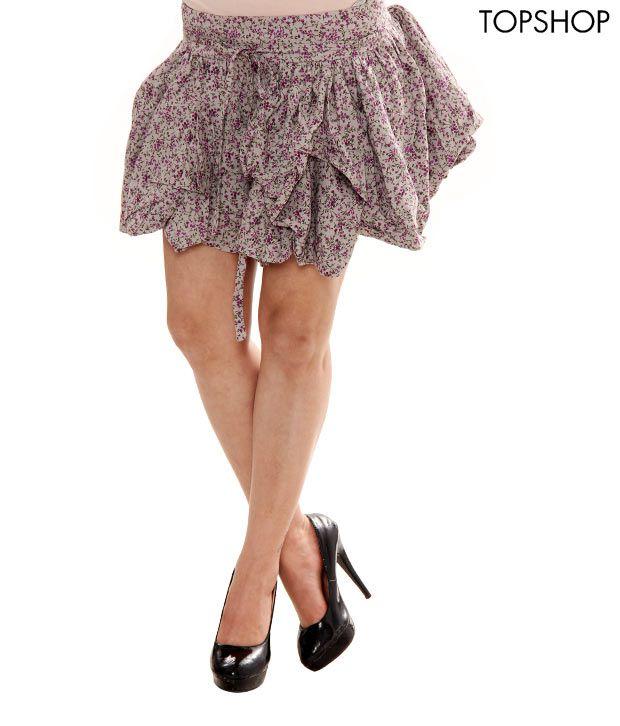 Topshop Printed Grey & Pink Printed Skirt-TS02