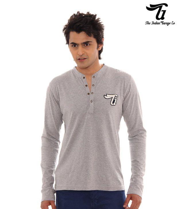 Indian Garage Casual Grey Melange T-Shirt Henlygarage-Gy