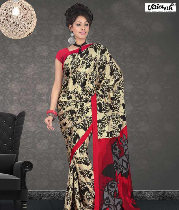 Vaishali Red Wrinkle Crepe Saree(PrintedSaree-996B)