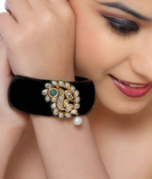 Asherahs Chic Black Kundan Cuff