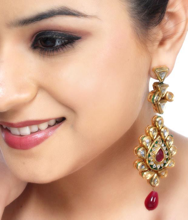 Asherahs Divine Red Jade Kundan Earrings