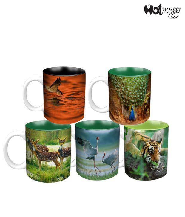 HotMuggs- Wild Focus 5 Mugs Combo - Designers' Pick