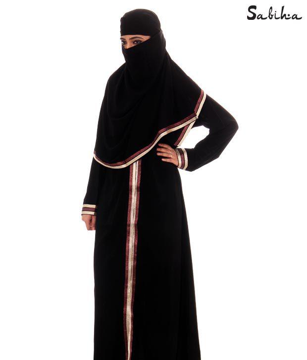 Sabiha Majestic Black Burqa (IQSJSAB0002)