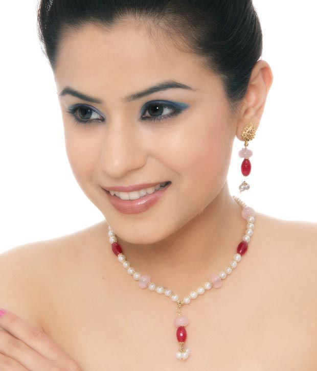 Isabella Ruby Red Pillar Beads Necklace Set