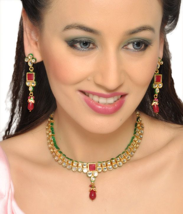 Kalakriti Alluring Red Ruby Necklace Set