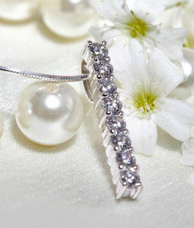 Lencia Stylish White Stones Silver Pendant