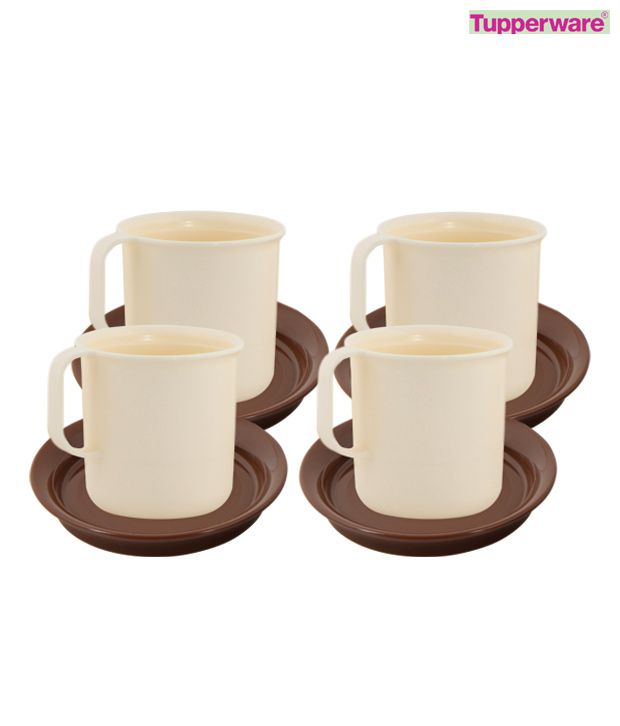 Tupperware Coffee Mugs With Coasters (set of 4)