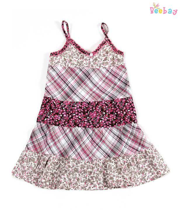 Beebay Print & Check Girls' Dress