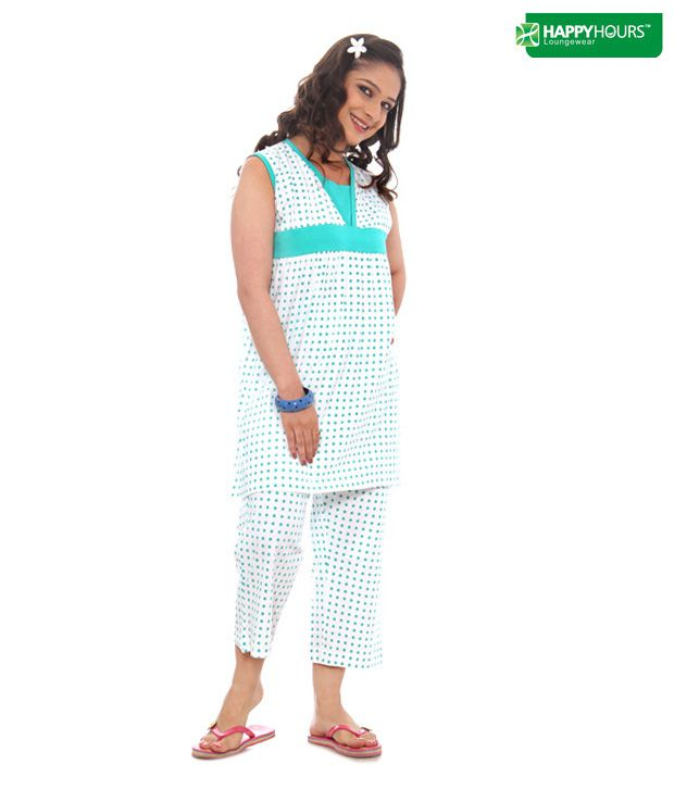Happy Hours Green Cotton Nightsuit Sets