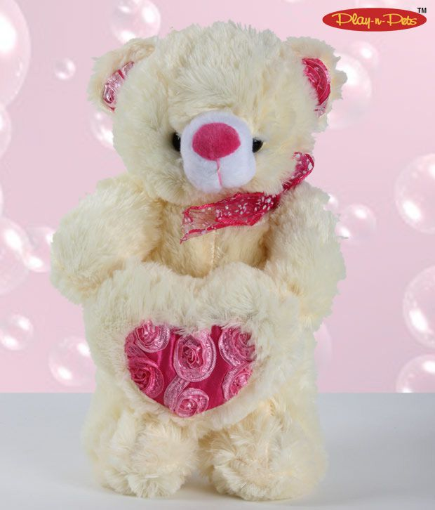 Play-n-Pets Bear With Heart Soft Toy