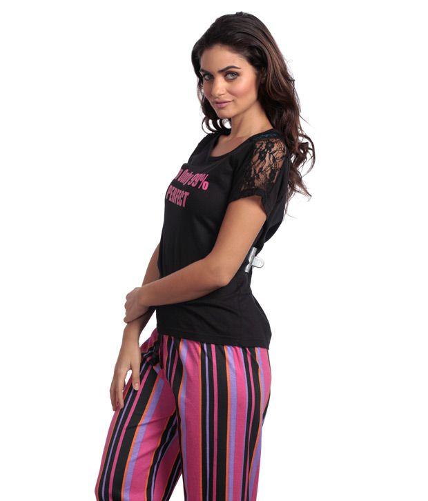 Heart 2 Heart Black-Pink Striped Pyjamas Set