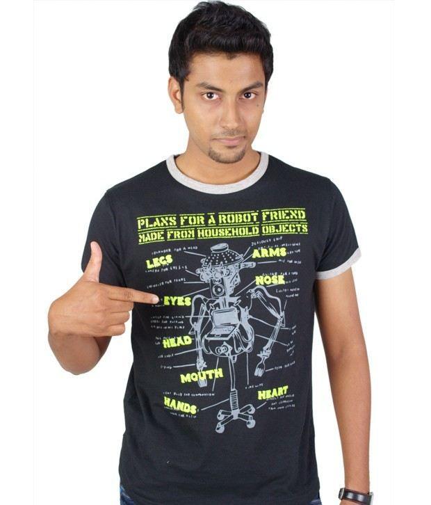 Tekki Crew Neck Black Printed T-Shirt