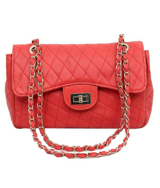 Chanter Pretty Red Woven Twist Leather Handbag