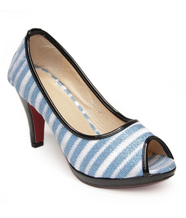 Nell Stylish Blue Pencil Heel Pumps