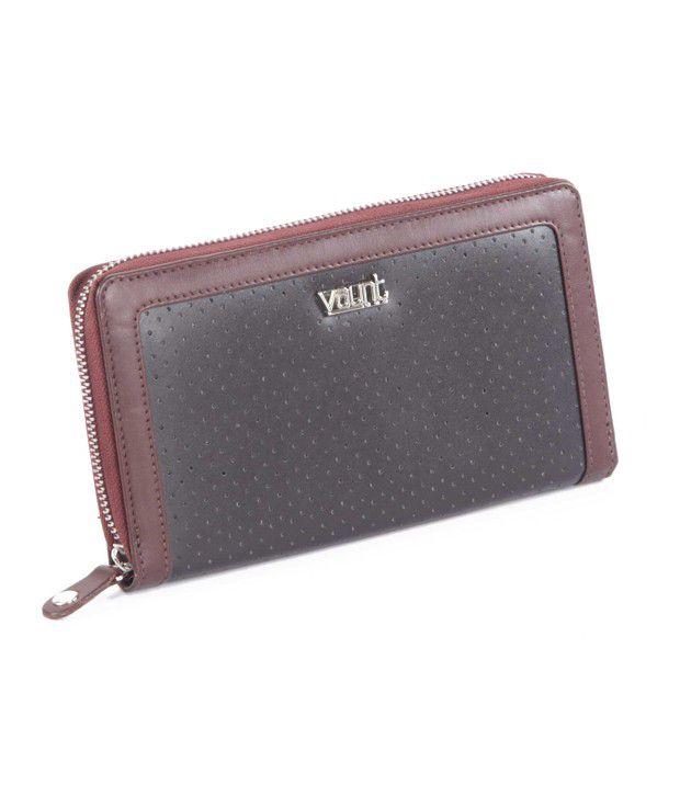 Vaunt Black & Brown Perforated Design Wallet