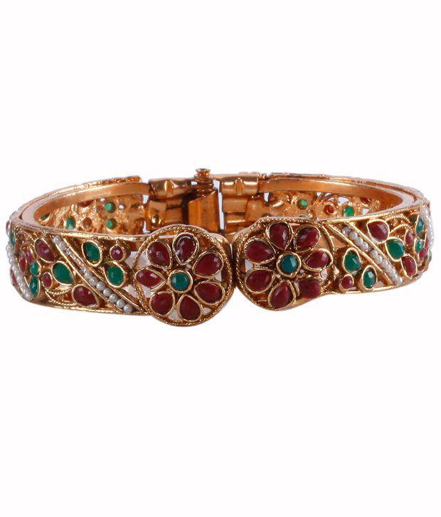 Aradhyaa Jewel Arts Maroon &   Green Stone Work Ethnic Kada