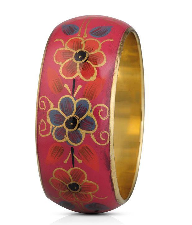 Oleva Modish Linear Floral Imprint Bangle