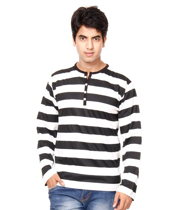 Phoenix White-Black Henley T-Shirt