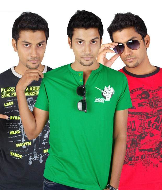 Tekki Black-Red-Green Pack Of 3 T shirts