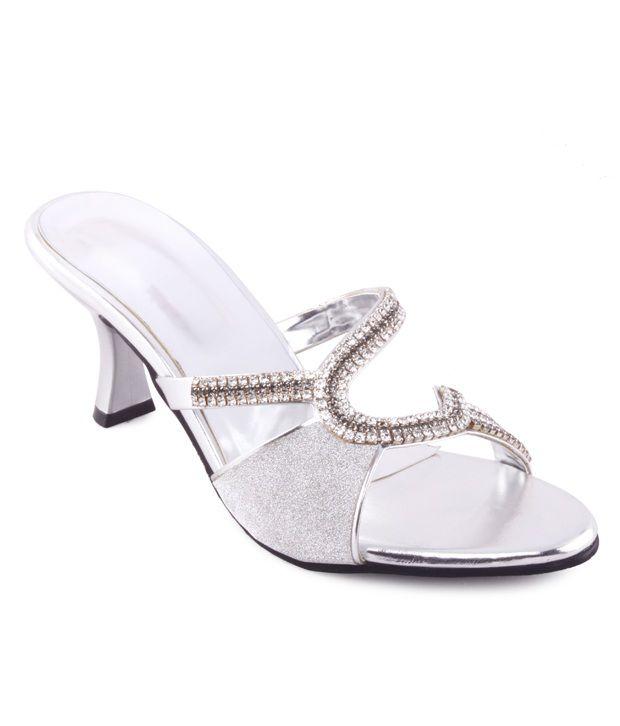 Kielz Stylish Silver Slip-on Heels