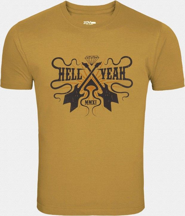 Zovi Cool Yellow Printed T Shirt