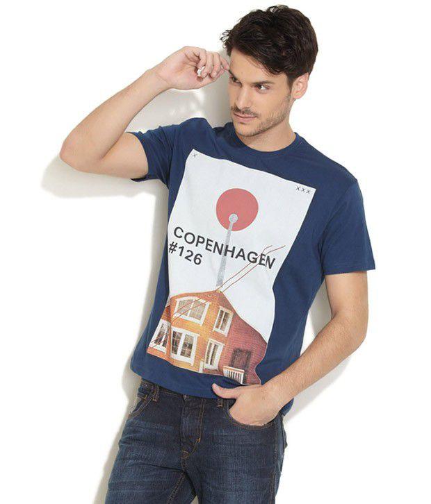 Obidos Classic Navy Printed T Shirt