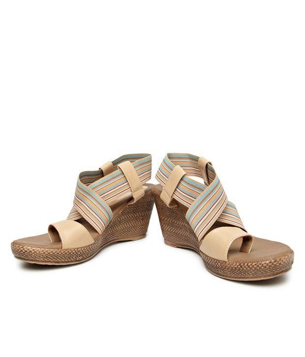 bonjour smart beige wedge heel sandals price in india buy