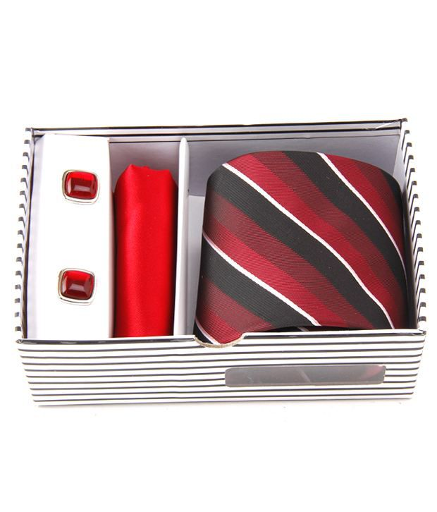Alvaro Maroon-Black Tie, Pocket Square & Cufflinks Gift Set