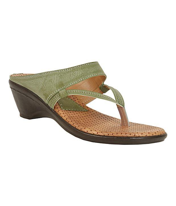La Zilver Trendy Green Slip-on Heels