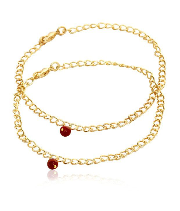 Touchstone Anklets Pair With Ruby Beads
