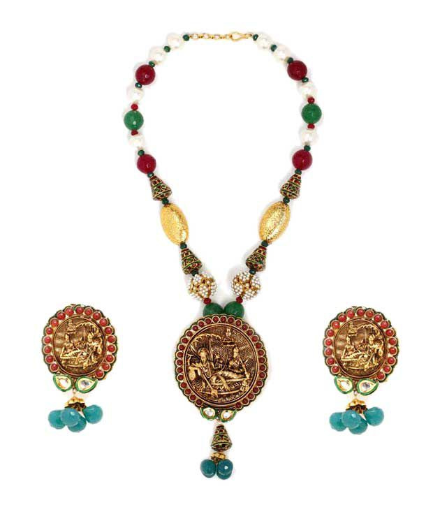 Aradhyaa Gold Polished Vishnu  Lakshmi Temple Necklace Set