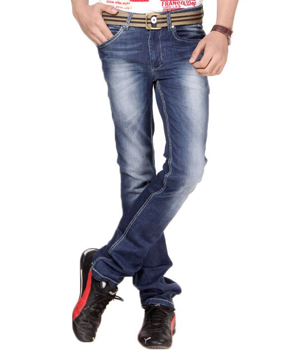 Franco Leone Dark Blue Faded Jeans