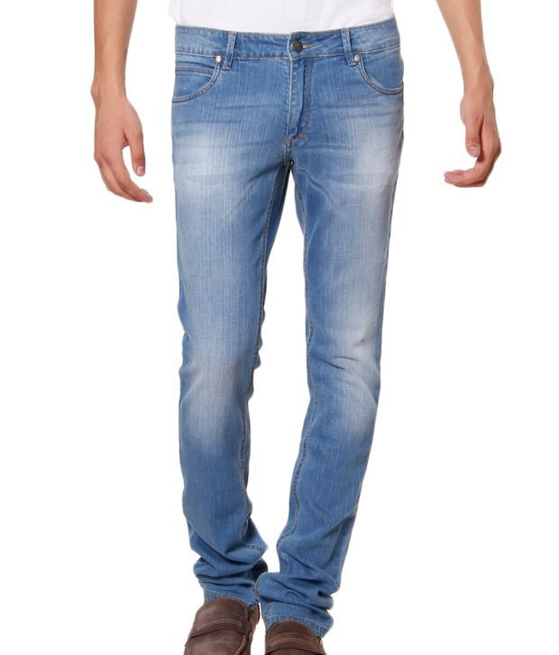 TNG Light Blue Faded Slim Fit Jeans
