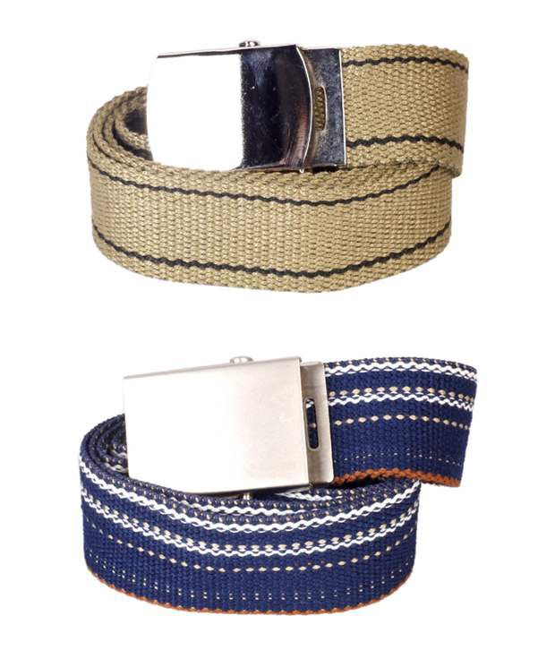 Flying Colors Beige & Blue Canvas Belts Combo
