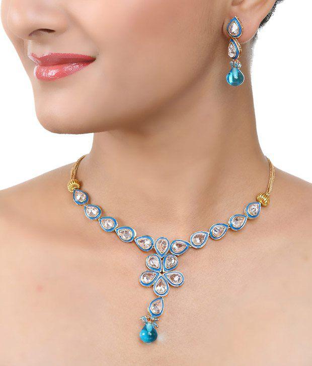 Art Mannia Blue Kundan Necklace  Set