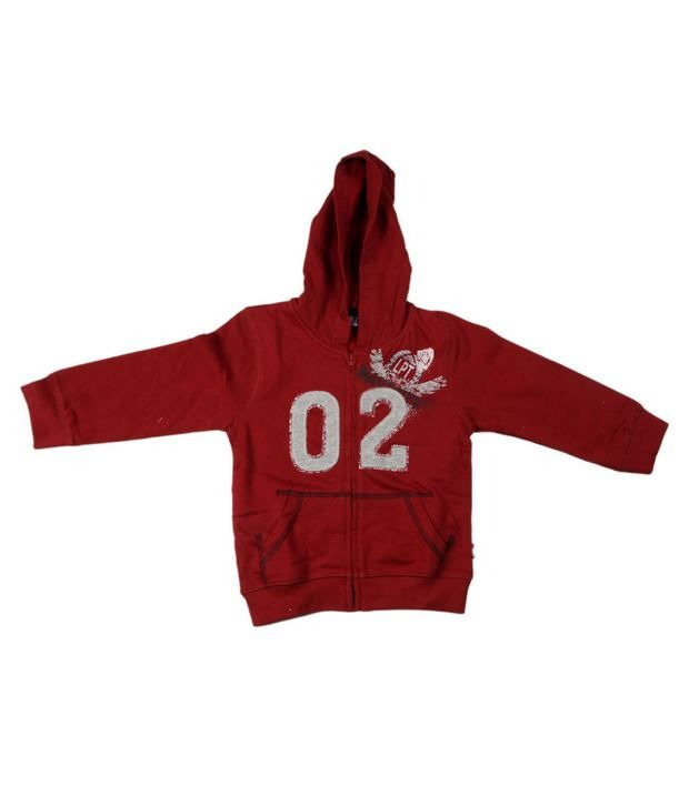 Unlisted Red Full Sleeves Sweatshirt For Kids